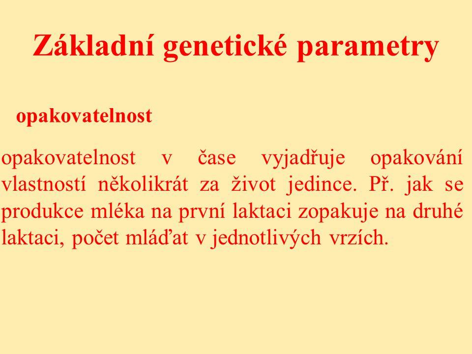 Základní genetické parametry opakovatelnost opakovatelnost v čase vyjadřuje opakování vlastností několikrát za život jedince.