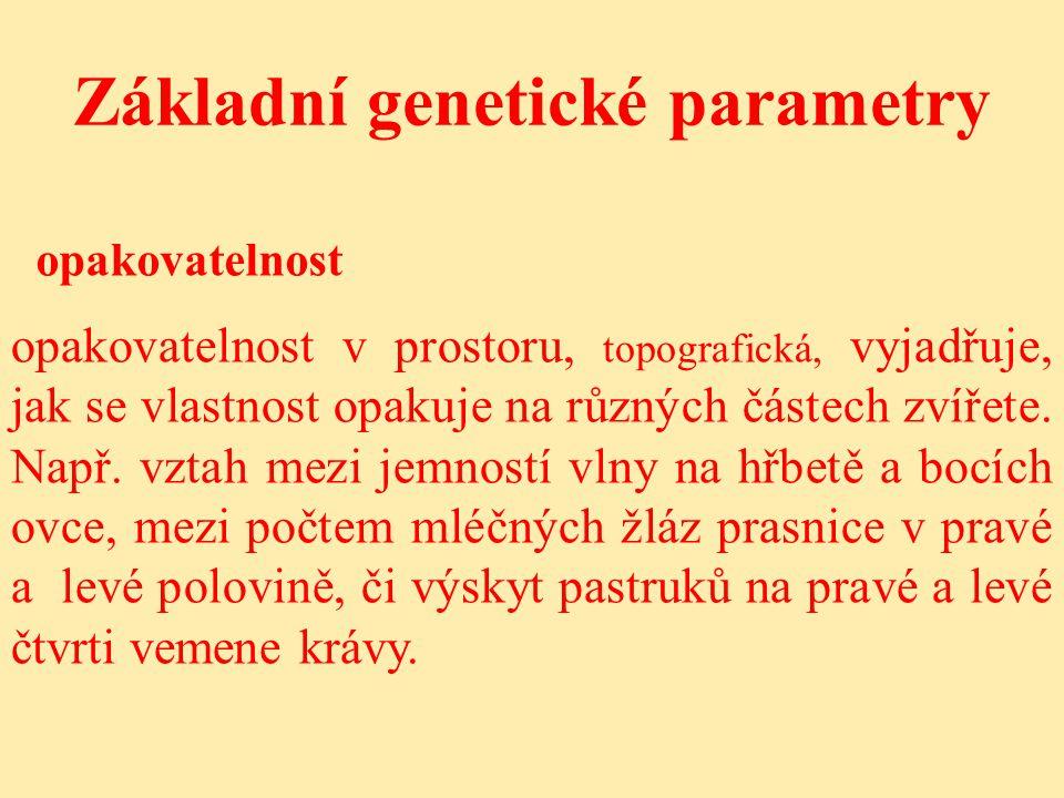 Základní genetické parametry opakovatelnost opakovatelnost v prostoru, topografická, vyjadřuje, jak se vlastnost opakuje na různých částech zvířete.