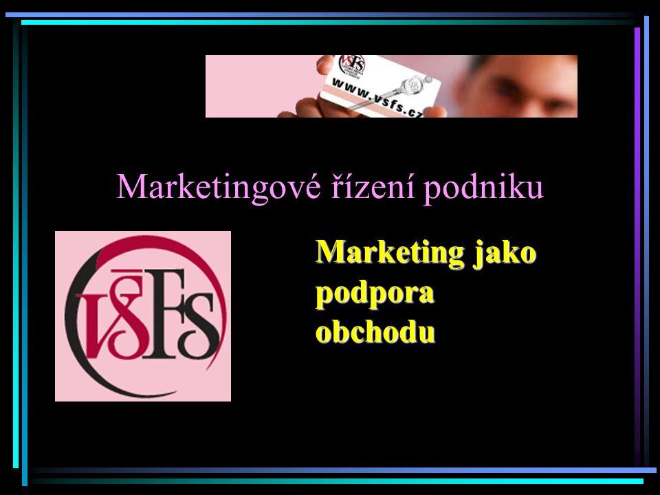 Marketingové řízení podniku Marketing jako podpora obchodu