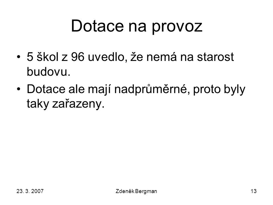 23. 3. 2007Zdeněk Bergman13 Dotace na provoz 5 škol z 96 uvedlo, že nemá na starost budovu.