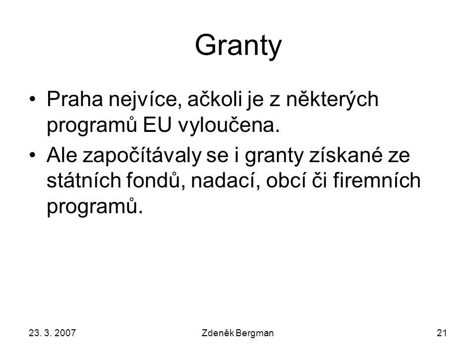 23. 3. 2007Zdeněk Bergman21 Granty Praha nejvíce, ačkoli je z některých programů EU vyloučena.
