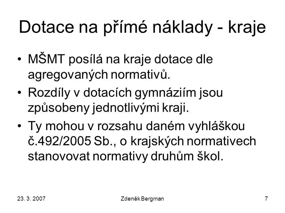 23.3. 2007Zdeněk Bergman28 Zisk doplňkové činnosti - školy Průměr 66 tis.