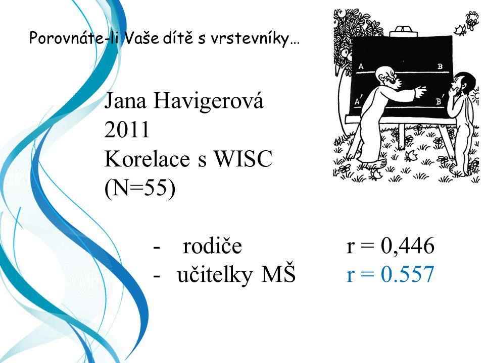 Porovnáte-li Vaše dítě s vrstevníky… Jana Havigerová 2011 Korelace s WISC (N=55) -rodiče r = 0,446 -učitelky MŠ r = 0.557