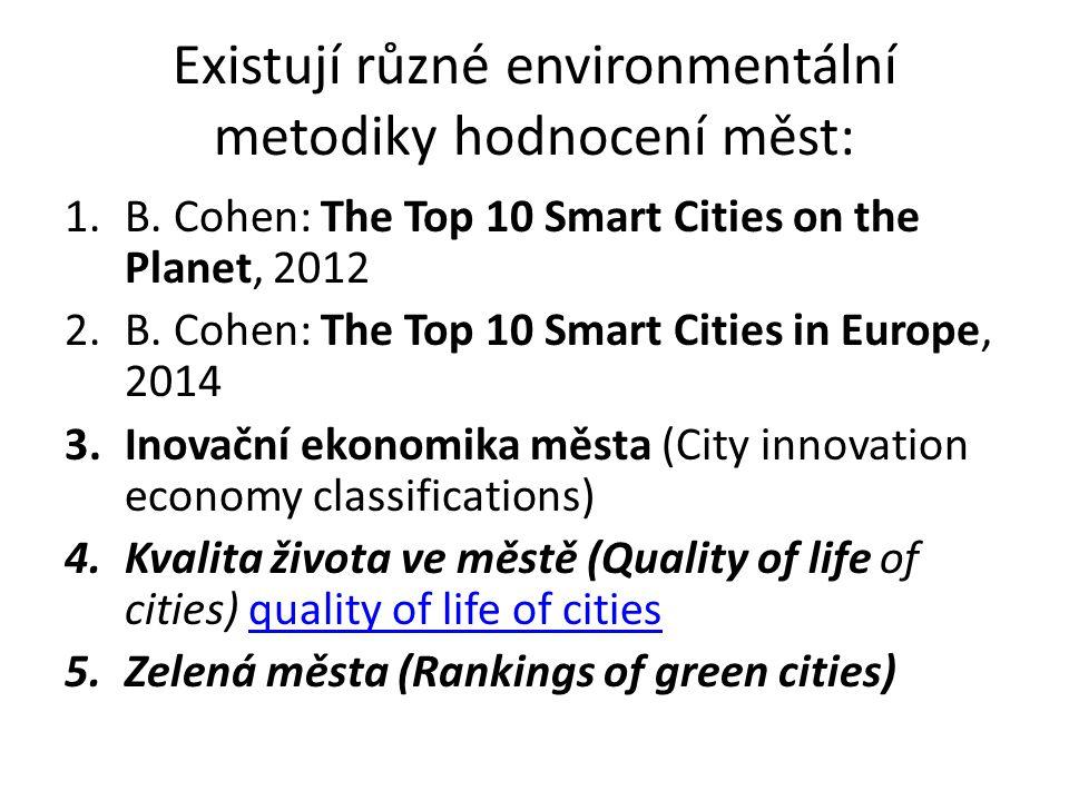 Existují různé environmentální metodiky hodnocení měst: 1.B.