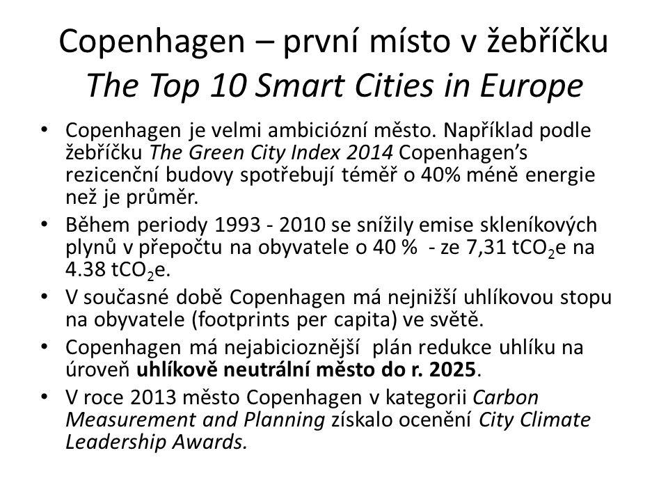 Copenhagen – první místo v žebříčku The Top 10 Smart Cities in Europe Copenhagen je velmi ambiciózní město.