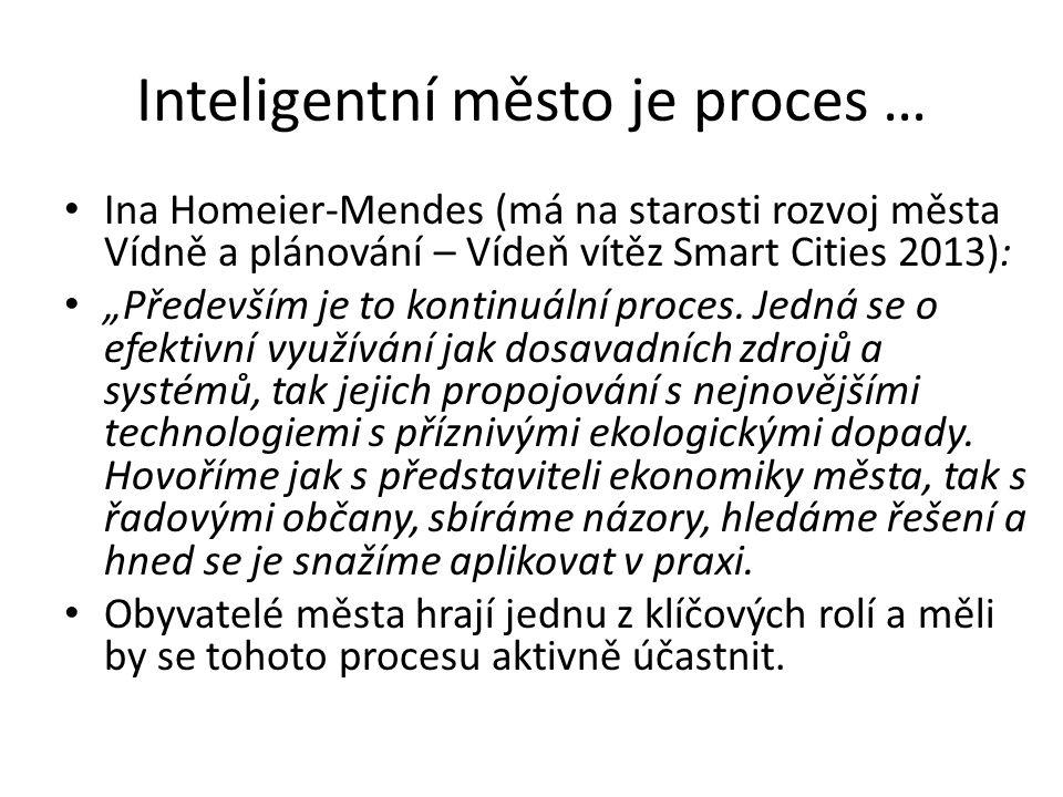 """Inteligentní město je proces … Ina Homeier-Mendes (má na starosti rozvoj města Vídně a plánování – Vídeň vítěz Smart Cities 2013): """"Především je to kontinuální proces."""