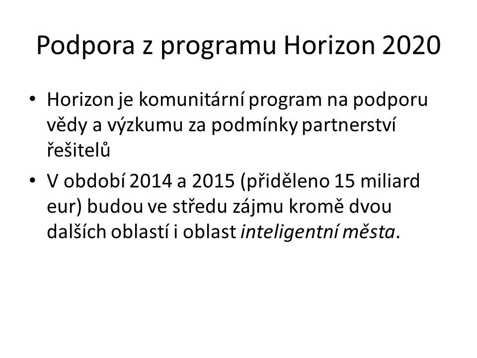 Podpora z programu Horizon 2020 Horizon je komunitární program na podporu vědy a výzkumu za podmínky partnerství řešitelů V období 2014 a 2015 (přiděleno 15 miliard eur) budou ve středu zájmu kromě dvou dalších oblastí i oblast inteligentní města.