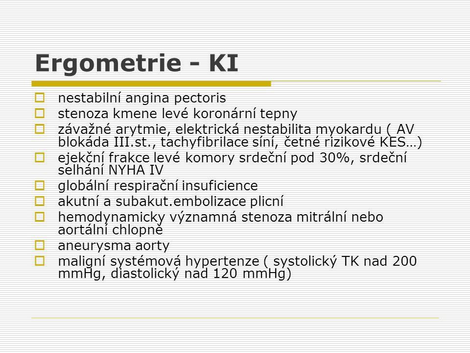 Ergometrie - KI  nestabilní angina pectoris  stenoza kmene levé koronární tepny  závažné arytmie, elektrická nestabilita myokardu ( AV blokáda III.