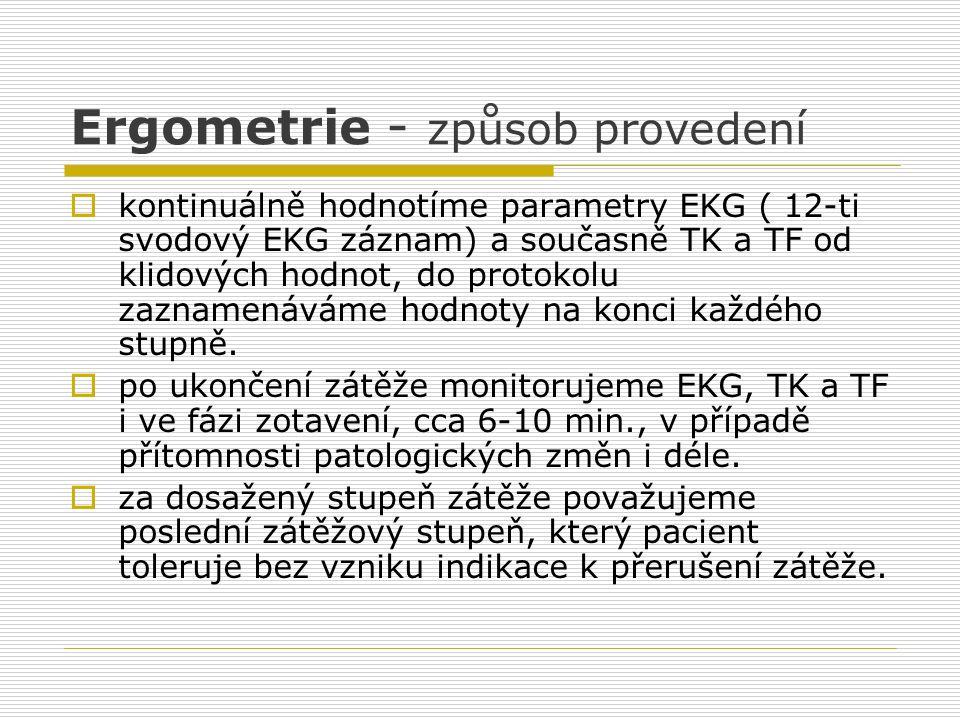Ergometrie - způsob provedení  kontinuálně hodnotíme parametry EKG ( 12-ti svodový EKG záznam) a současně TK a TF od klidových hodnot, do protokolu z