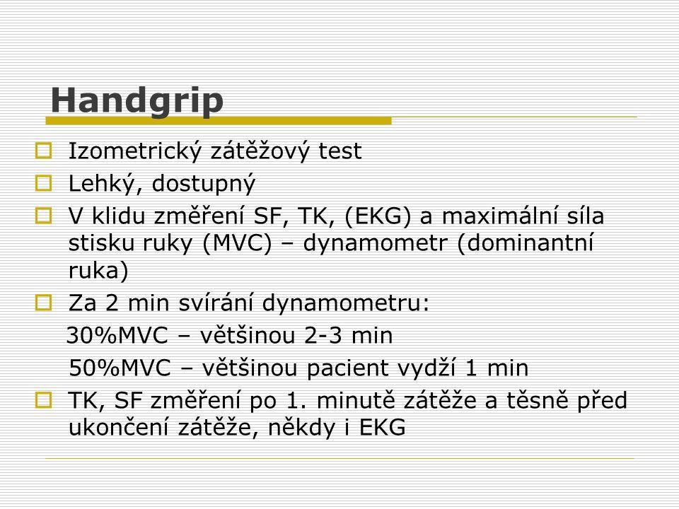 Handgrip  Izometrický zátěžový test  Lehký, dostupný  V klidu změření SF, TK, (EKG) a maximální síla stisku ruky (MVC) – dynamometr (dominantní ruk