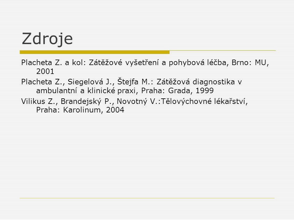 Zdroje Placheta Z. a kol: Zátěžové vyšetření a pohybová léčba, Brno: MU, 2001 Placheta Z., Siegelová J., Štejfa M.: Zátěžová diagnostika v ambulantní