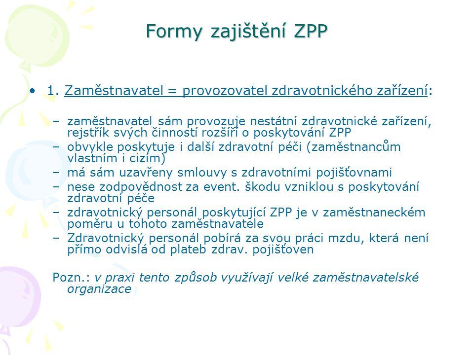 Formy zajištění ZPP 1. Zaměstnavatel = provozovatel zdravotnického zařízení: –zaměstnavatel sám provozuje nestátní zdravotnické zařízení, rejstřík svý
