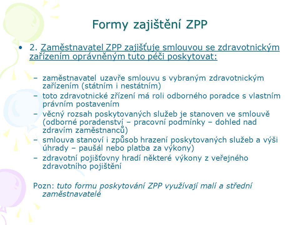 Formy zajištění ZPP 2. Zaměstnavatel ZPP zajišťuje smlouvou se zdravotnickým zařízením oprávněným tuto péči poskytovat: –zaměstnavatel uzavře smlouvu