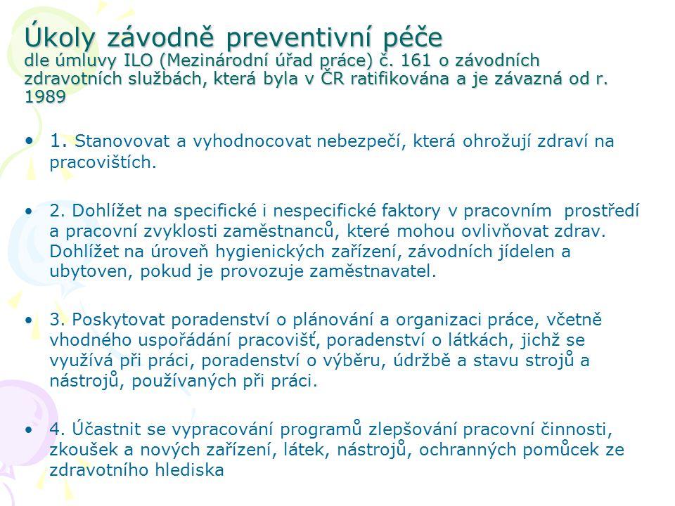 Úkoly závodně preventivní péče dle úmluvy ILO (Mezinárodní úřad práce) č. 161 o závodních zdravotních službách, která byla v ČR ratifikována a je záva