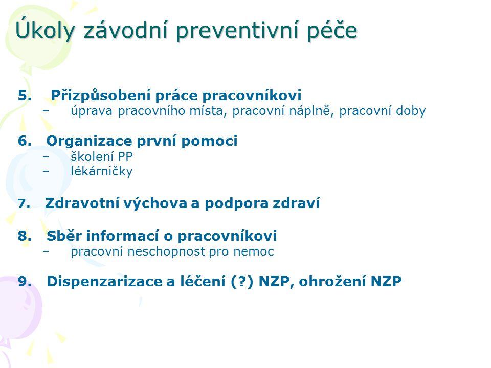 Úkoly závodní preventivní péče 5. Přizpůsobení práce pracovníkovi –úprava pracovního místa, pracovní náplně, pracovní doby 6. Organizace první pomoci