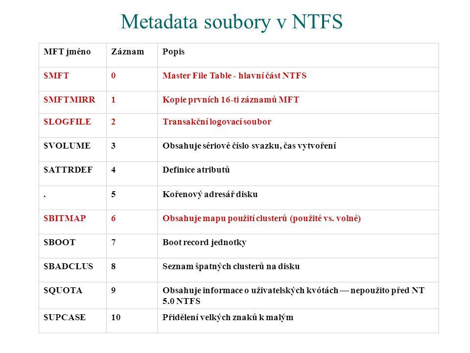 Metadata soubory v NTFS MFT jménoZáznamPopis $MFT0Master File Table - hlavní část NTFS $MFTMIRR1Kopie prvních 16-ti záznamů MFT $LOGFILE2Transakční lo