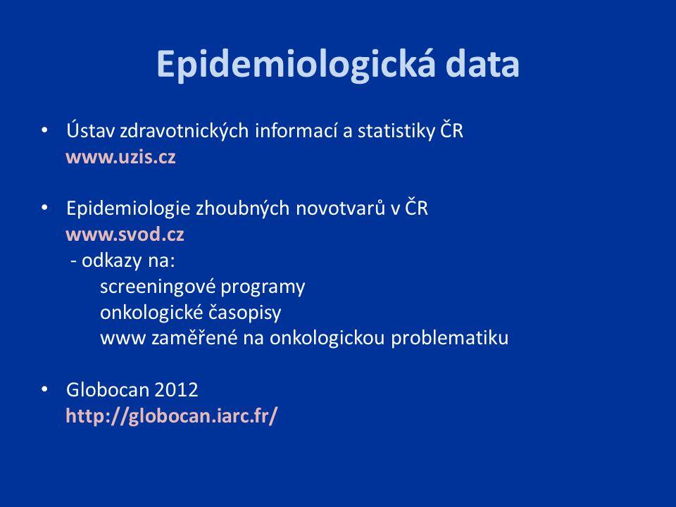 Epidemiologická data Ústav zdravotnických informací a statistiky ČR www.uzis.cz Epidemiologie zhoubných novotvarů v ČR www.svod.cz - odkazy na: screen