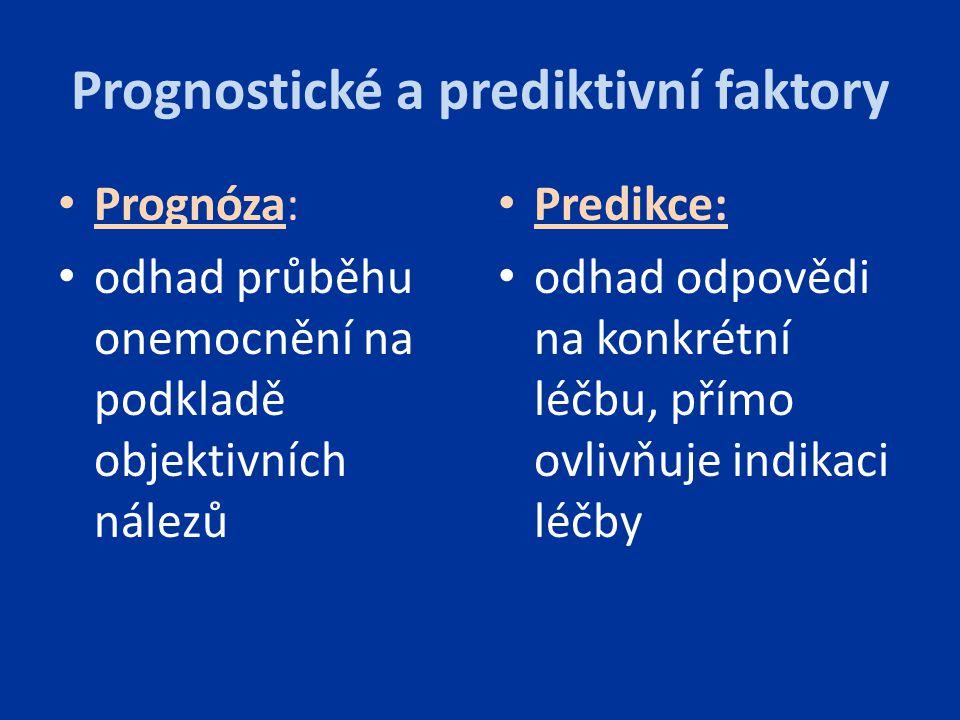 Prognostické a prediktivní faktory Prognóza: odhad průběhu onemocnění na podkladě objektivních nálezů Predikce: odhad odpovědi na konkrétní léčbu, pří