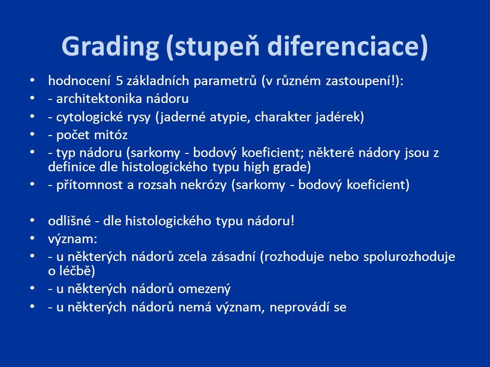 Grading (stupeň diferenciace) hodnocení 5 základních parametrů (v různém zastoupení!): - architektonika nádoru - cytologické rysy (jaderné atypie, cha