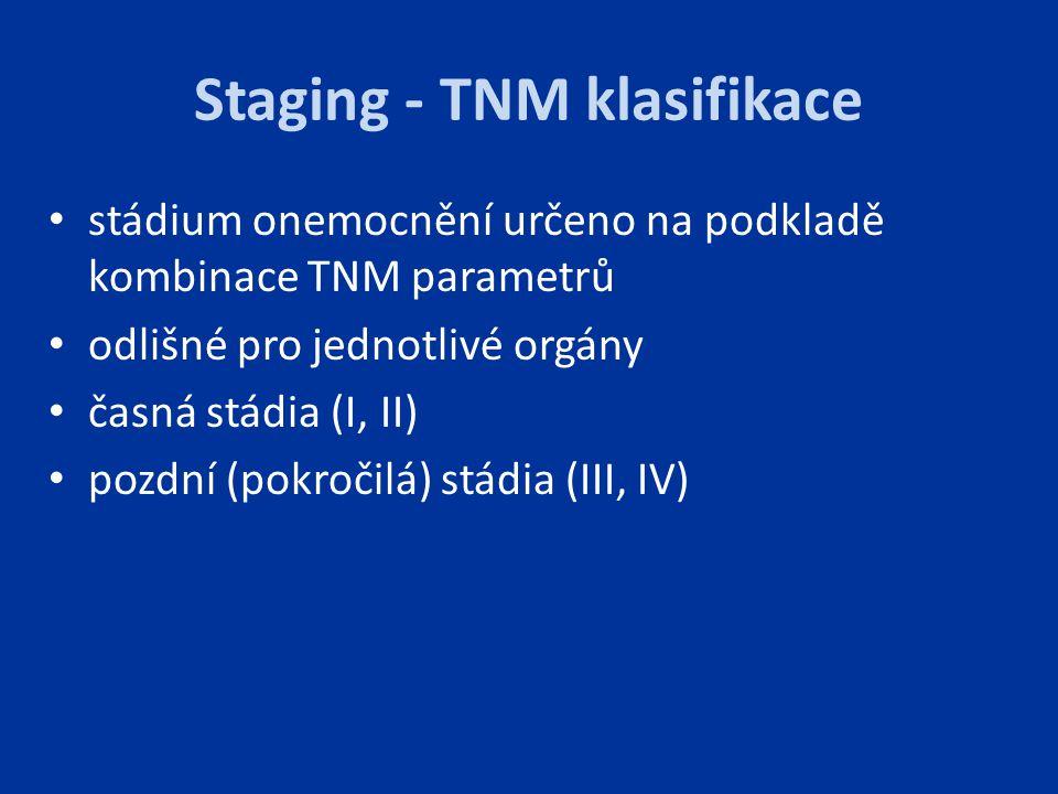 Staging - TNM klasifikace stádium onemocnění určeno na podkladě kombinace TNM parametrů odlišné pro jednotlivé orgány časná stádia (I, II) pozdní (pok