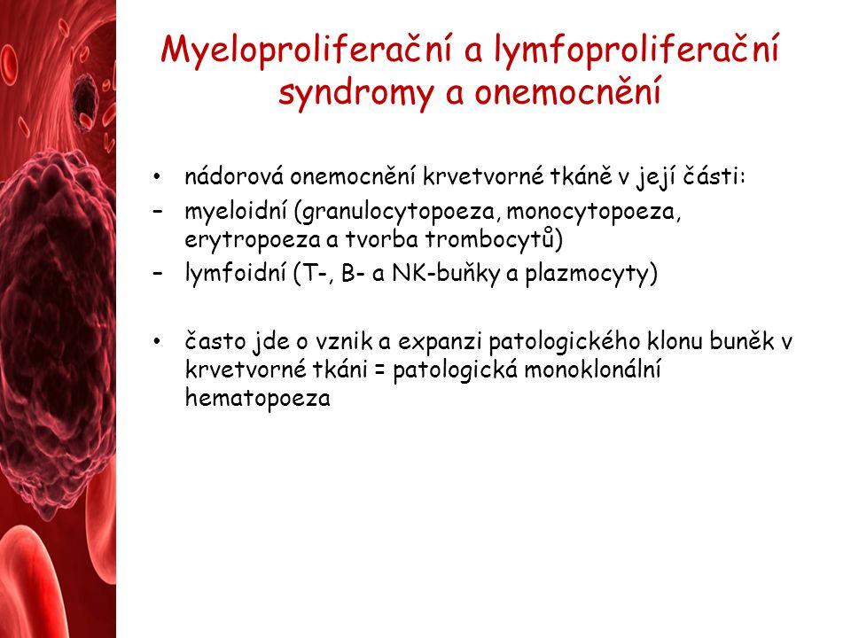 Myeloproliferační a lymfoproliferační syndromy a onemocnění nádorová onemocnění krvetvorné tkáně v její části: –myeloidní (granulocytopoeza, monocytop