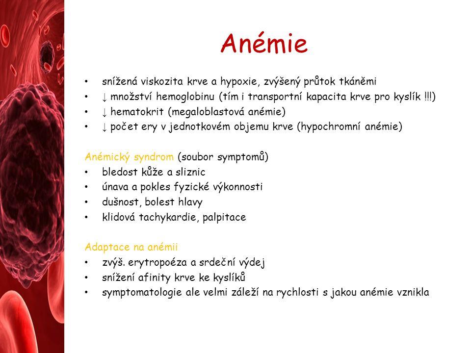 Anémie snížená viskozita krve a hypoxie, zvýšený průtok tkáněmi ↓ množství hemoglobinu (tím i transportní kapacita krve pro kyslík !!!) ↓ hematokrit (