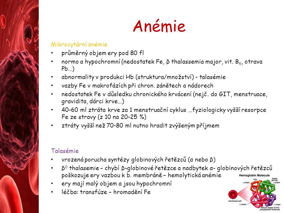 Anémie Mikrocytární anémie průměrný objem ery pod 80 fl normo a hypochromní (nedostatek Fe, β thalassemia major, vit. B 6, otrava Pb…) abnormality v p