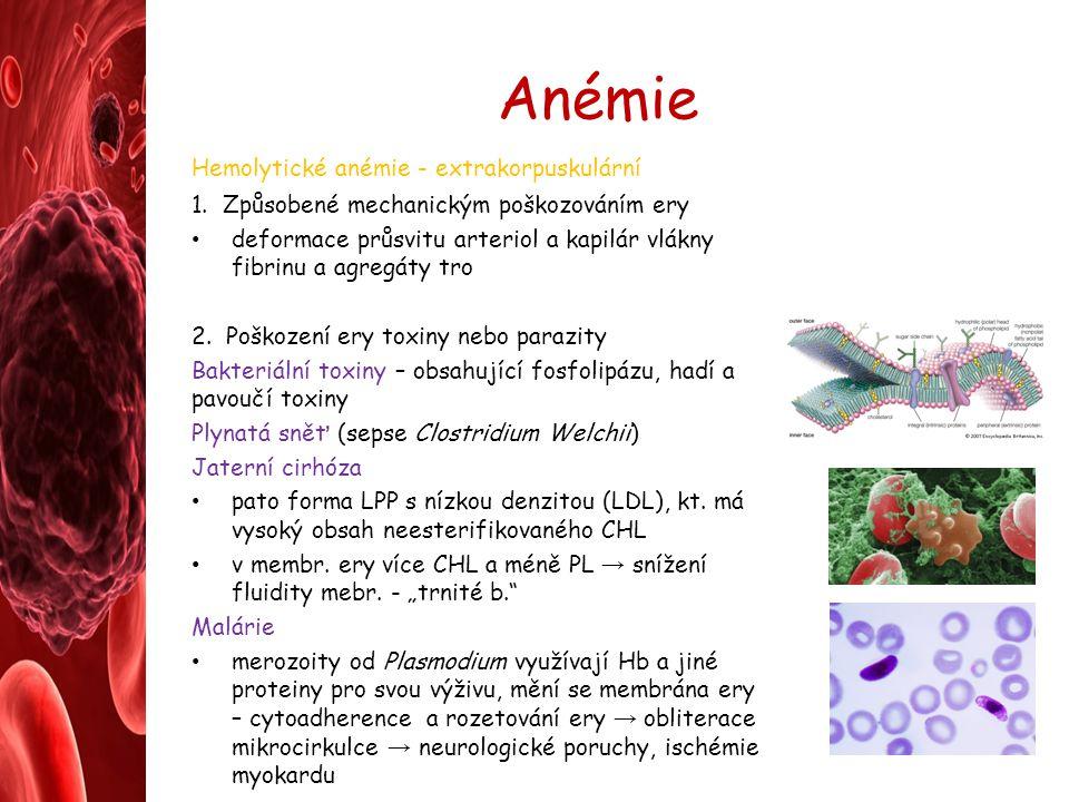 Anémie Hemolytické anémie - extrakorpuskulární 1. Způsobené mechanickým poškozováním ery deformace průsvitu arteriol a kapilár vlákny fibrinu a agregá