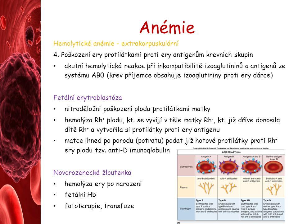 Anémie Hemolytické anémie - extrakorpuskulární 4. Poškození ery protilátkami proti ery antigenům krevních skupin akutní hemolytická reakce při inkompa