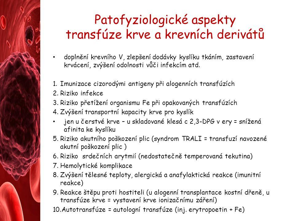 Patofyziologické aspekty transfúze krve a krevních derivátů doplnění krevního V, zlepšení dodávky kyslíku tkáním, zastavení krvácení, zvýšení odolnost