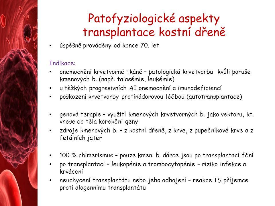 Patofyziologické aspekty transplantace kostní dřeně úspěšně prováděny od konce 70. let Indikace: onemocnění krvetvorné tkáně – patologická krvetvorba
