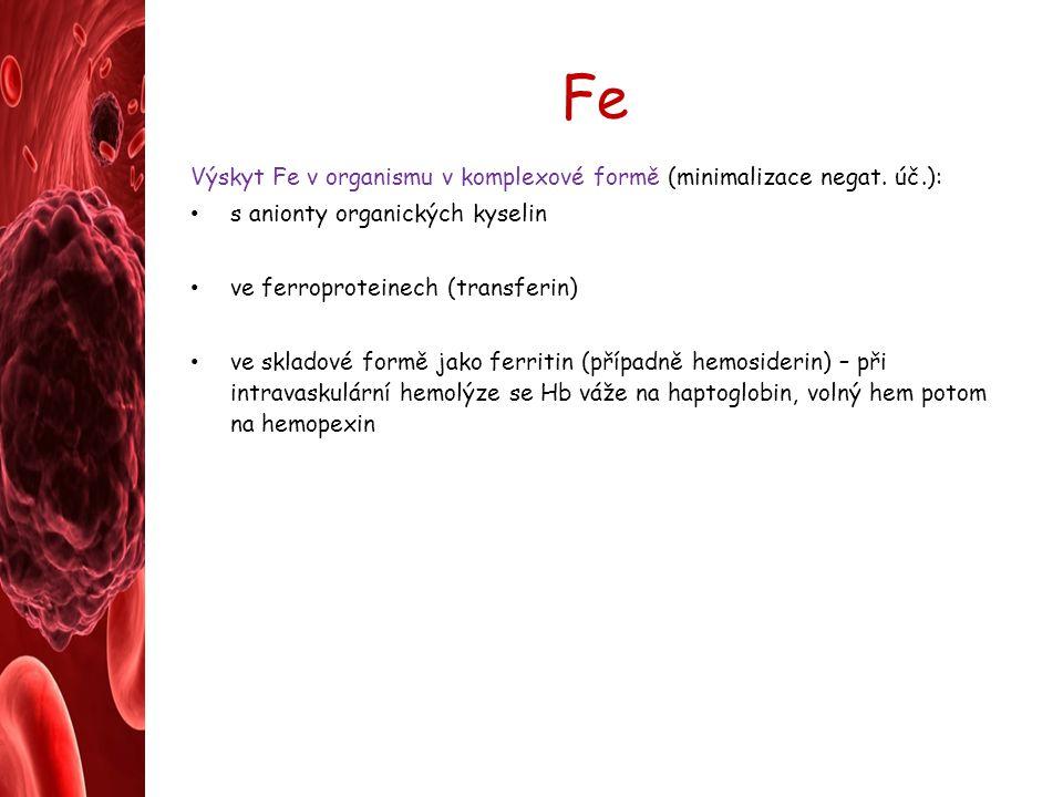 Fe Výskyt Fe v organismu v komplexové formě (minimalizace negat. úč.): s anionty organických kyselin ve ferroproteinech (transferin) ve skladové formě