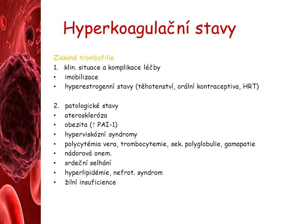 Hyperkoagulační stavy Získané trombofilie 1. klin. situace a komplikace léčby imobilizace hyperestrogenní stavy (těhotenství, orální kontraceptiva, HR