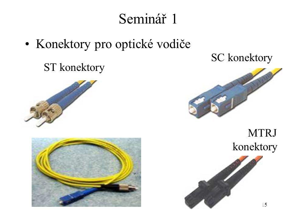 15 Seminář 1 Konektory pro optické vodiče SC konektory MTRJ konektory ST konektory