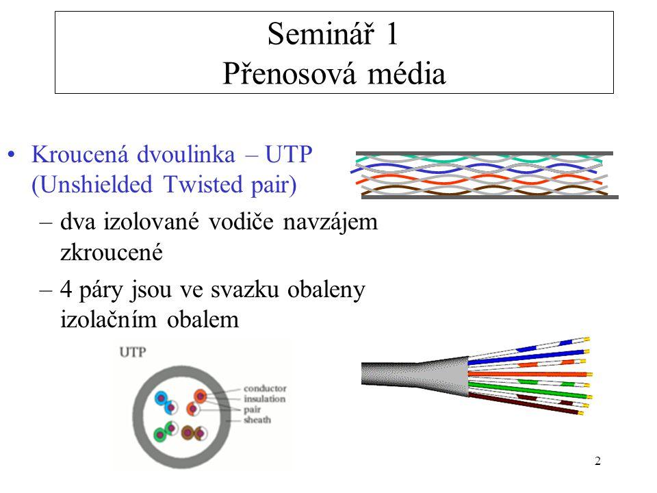 2 Kroucená dvoulinka – UTP (Unshielded Twisted pair) –dva izolované vodiče navzájem zkroucené –4 páry jsou ve svazku obaleny izolačním obalem Seminář