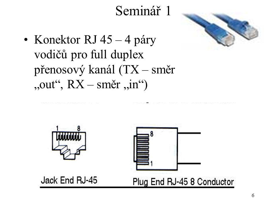 """6 Seminář 1 Konektor RJ 45 – 4 páry vodičů pro full duplex přenosový kanál (TX – směr """"out"""", RX – směr """"in"""")"""