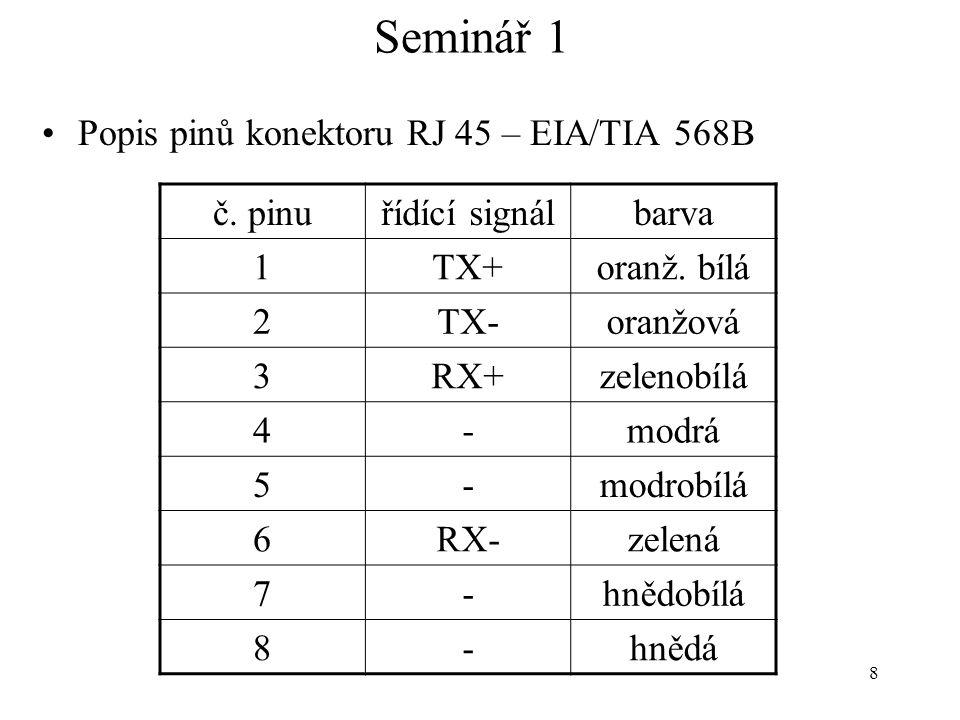 8 Seminář 1 Popis pinů konektoru RJ 45 – EIA/TIA 568B č. pinuřídící signálbarva 1TX+oranž. bílá 2TX-oranžová 3RX+zelenobílá 4-modrá 5-modrobílá 6RX-ze