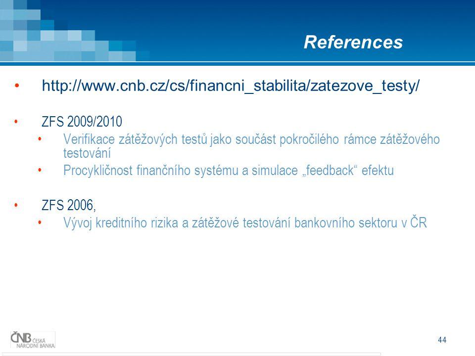 44 http://www.cnb.cz/cs/financni_stabilita/zatezove_testy/ ZFS 2009/2010 Verifikace zátěžových testů jako součást pokročilého rámce zátěžového testová