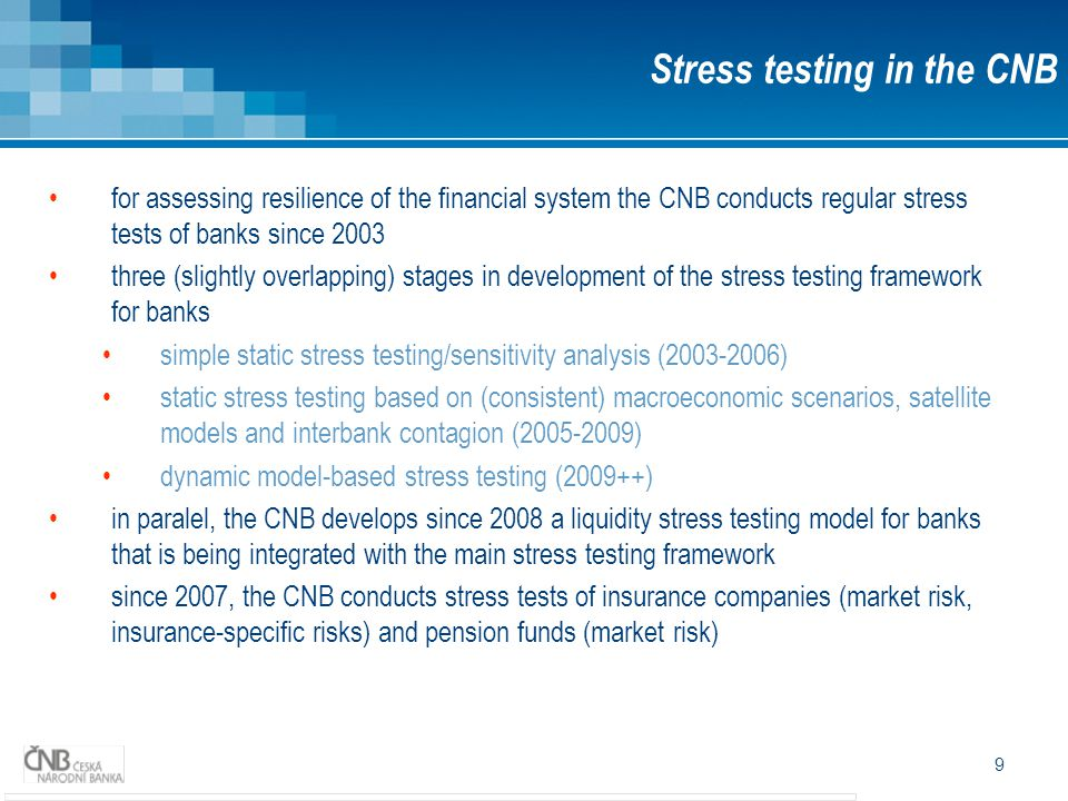 20 Dynamic model-based stress testing (2009++) FSR 2008/2009; FSR 2009/2010 Stress testing in the CNB