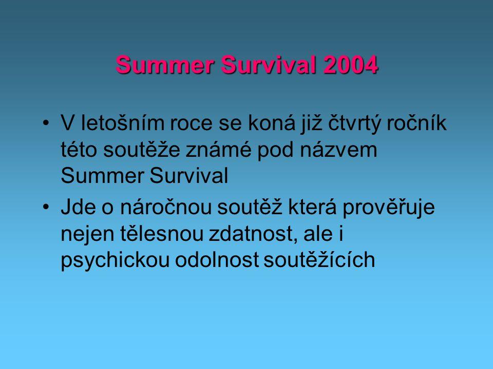 Summer Survival 2004 V letošním roce se koná již čtvrtý ročník této soutěže známé pod názvem Summer Survival Jde o náročnou soutěž která prověřuje nejen tělesnou zdatnost, ale i psychickou odolnost soutěžících