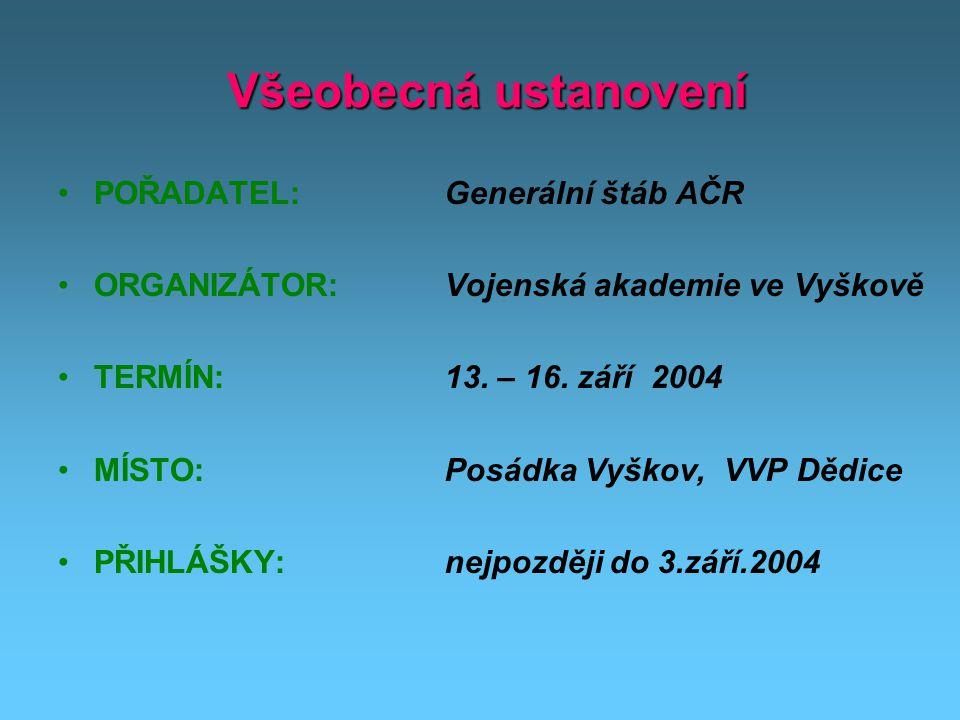 Všeobecná ustanovení Všeobecná ustanovení POŘADATEL: ORGANIZÁTOR: TERMÍN: MÍSTO: PŘIHLÁŠKY: Generální štáb AČR Vojenská akademie ve Vyškově 13.