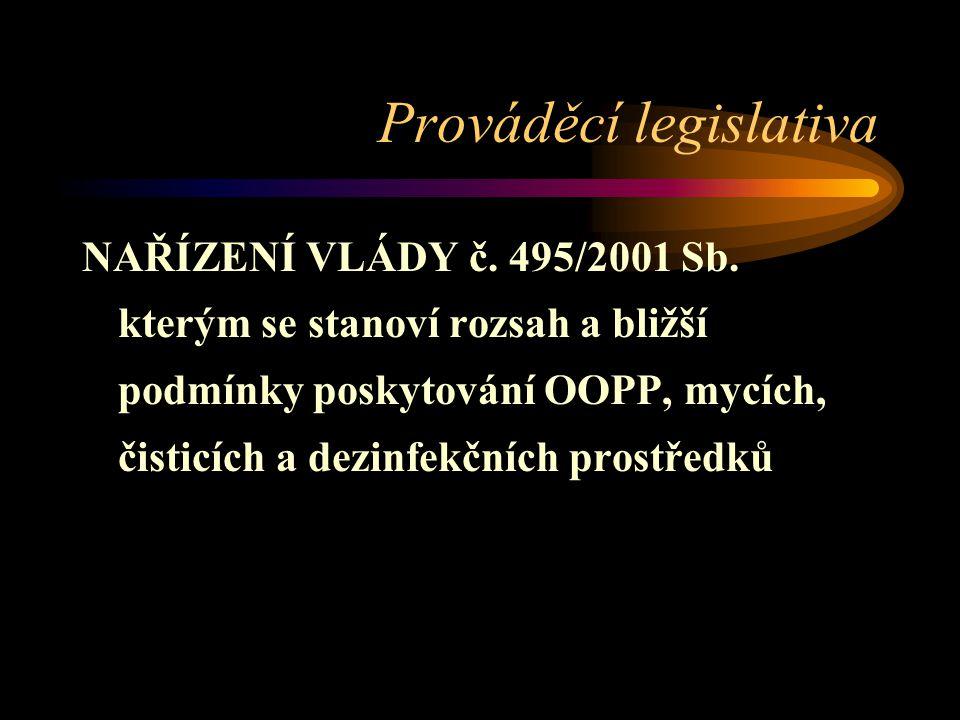 Prováděcí legislativa NAŘÍZENÍ VLÁDY č.495/2001 Sb.