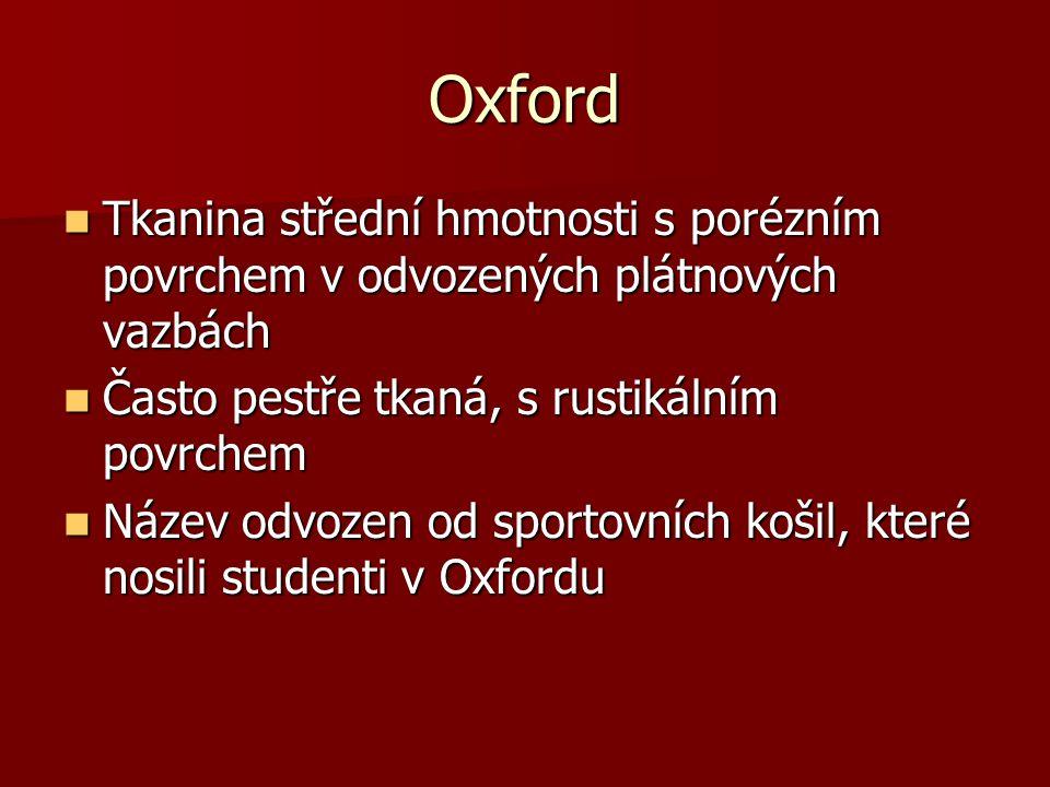 Oxford Tkanina střední hmotnosti s porézním povrchem v odvozených plátnových vazbách Tkanina střední hmotnosti s porézním povrchem v odvozených plátno