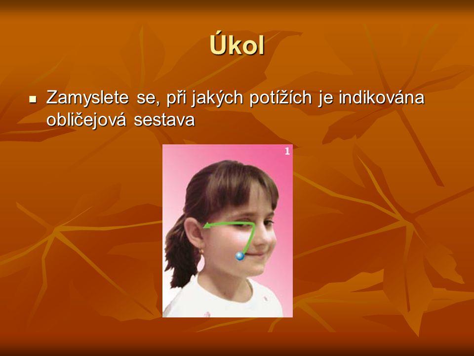 Řešení úkolu Obličejová sestava nachází své opodstatnění u zánětlivých procesů vedlejších obličejových dutin U všech druhů rýmy a je to výborná alternativa manuálního liftingu obličeje