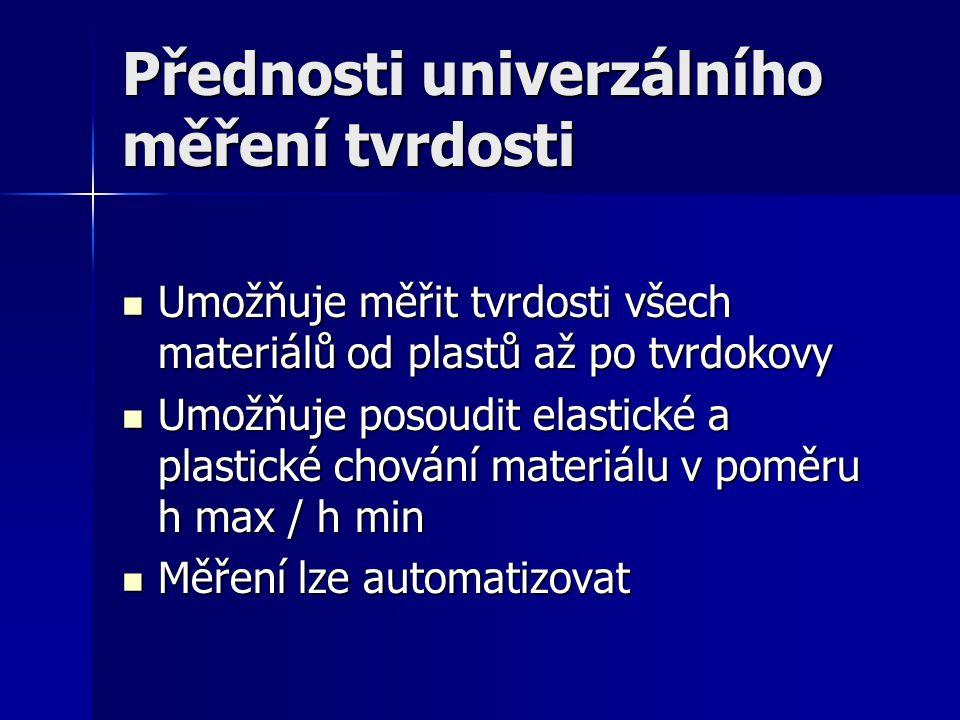 Přednosti univerzálního měření tvrdosti Umožňuje měřit tvrdosti všech materiálů od plastů až po tvrdokovy Umožňuje měřit tvrdosti všech materiálů od plastů až po tvrdokovy Umožňuje posoudit elastické a plastické chování materiálu v poměru h max / h min Umožňuje posoudit elastické a plastické chování materiálu v poměru h max / h min Měření lze automatizovat Měření lze automatizovat