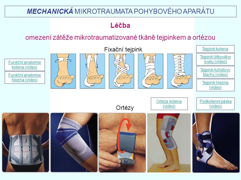 Ortézy Fixační tejpink MECHANICKÁ MIKROTRAUMATA POHYBOVÉHO APARÁTU Funkční anatomie kolena (video) Ortéza kolena (video) Funkční anatomie hlezna (vide