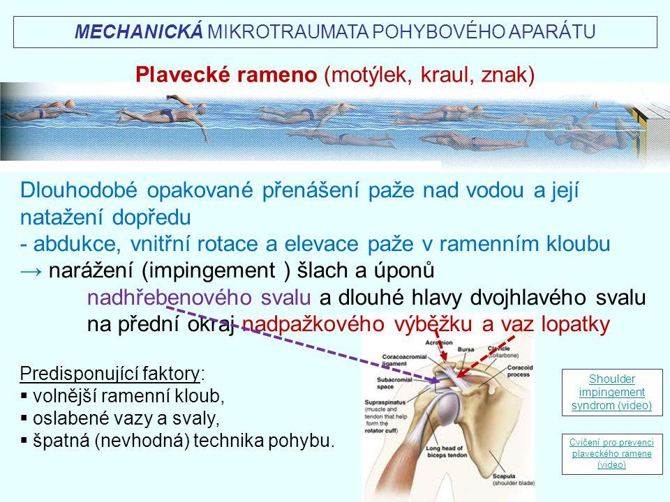 MECHANICKÁ MIKROTRAUMATA POHYBOVÉHO APARÁTU Plavecké rameno (motýlek, kraul, znak) Dlouhodobé opakované přenášení paže nad vodou a její natažení dopře