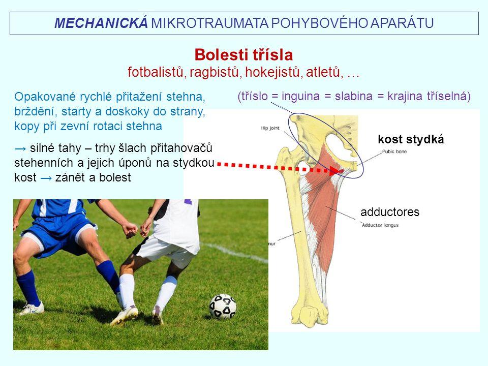Opakované rychlé přitažení stehna, brždění, starty a doskoky do strany, kopy při zevní rotaci stehna → silné tahy – trhy šlach přitahovačů stehenních