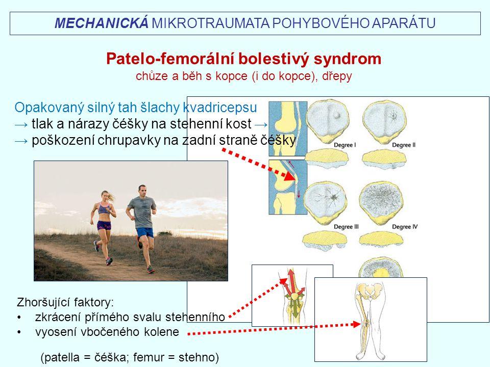 MECHANICKÁ MIKROTRAUMATA POHYBOVÉHO APARÁTU Opakovaný silný tah šlachy kvadricepsu → tlak a nárazy čéšky na stehenní kost → → poškození chrupavky na z