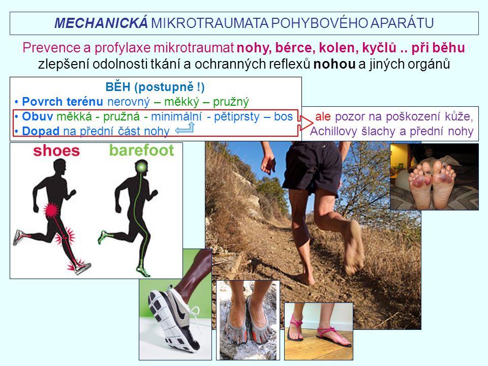 BĚH (postupně !) Povrch terénu nerovný – měkký – pružný Obuv měkká - pružná - minimální - pětiprsty – bos Dopad na přední část nohy MECHANICKÁ MIKROTR
